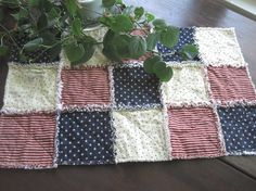 Patriotic Rag Table Runner  Navy Blue Red and White by Budgiefluff