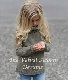 Childrenswear AliExpress Europe And America High Collar Long Sleeve Knit GIRL'S Sweater Hot Selling Child Hair Knitting For Kids, Baby Knitting Patterns, Crochet For Kids, Baby Patterns, Knit Crochet, Baby Olive, Velvet Acorn, Green Turtleneck, 10 Year Old Girl