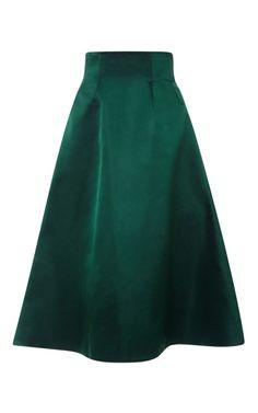 Seamed Satin Swing Skirt by Katie Ermilio for Preorder on Moda Operandi