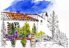 Villa Garden Pen and Watercolour Wash Framed Prints, Canvas Prints, Pen And Watercolor, London City, Painting & Drawing, Villa, Tapestry, Explore, Drawings