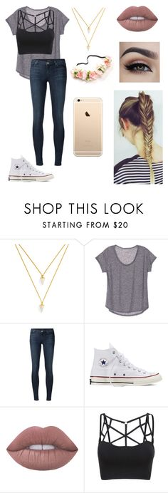 """Untitled #66"" by paigevjacobs on Polyvore featuring BaubleBar, J Brand, Converse and Lime Crime"