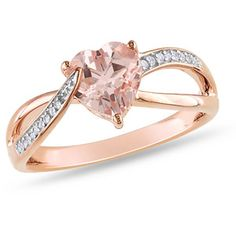 1-1/10 CT TGW Morganite and Diamond-Accent Fashion Ring in Pink Rhodium-Plated Sterling Silver