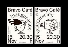 Bravo Café on Behance Typography Poster, Typography Design, Branding Design, Graphic Design Posters, Graphic Design Illustration, Book Design, Layout Design, Poster Design Inspiration, Poster Layout