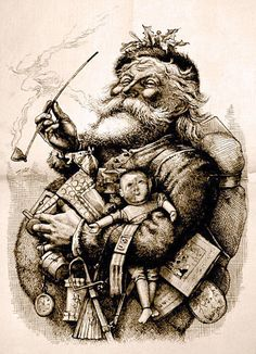 "This illustration by cartoonist Thomas Nast for the January 1, 1881 edition of Harper's Weekly would forever change our image of the man in the red suit. Based on Clement Clarke Moore's ""An Account of a Visit from St. Nicholas"", Nast drew Santa as a white bearded, rotund man in a white fur trimmed suit with a bag of toys and added a home in the North Pole, workshop and elves. This drawing was prompted by the success of his first illustration of Santa Claus wearing an American flag in 1863."