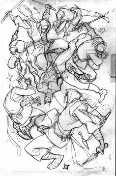DD and ninjas sketch by Davide Gianfelice