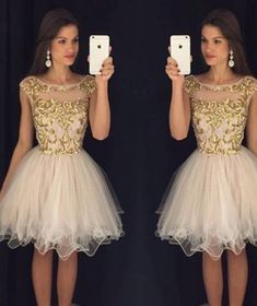 Homecoming Dresses,Short Prom Gown,Champagne Homecoming Gowns,Sexy dress