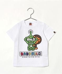 BAPE KIDS(ベイプキッズ)のMILO FUTURE GLOW IN THE DARK TEE (Tシャツ/カットソー) ホワイト×グリーン