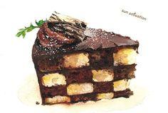 Checker Board cake Checkerboard Cake, Dessert Illustration, Food Cartoon, Watercolor Food, Food Painting, Food Drawing, Food Humor, Food Illustrations, Cute Food