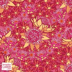 Seamless pattern of sunflowers, waratah & daisies on a marigold background. Beautiful tropical summer flowers in red, pink & orange suitable for wedding invitations, textiles or website wallpapers. Summer Flowers, Daisy Flowers, Daisies, Sunflowers, Flower Patterns, Print Patterns, Line Photo, Graphic Design Print, Beautiful Lines