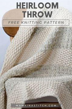 Beginner Knitting Patterns, Knitting Stitches, Crochet Patterns, Beginner Knitting Blanket, Easy Knit Baby Blanket, Knitted Afghans Patterns Free, Knit Blanket Squares, Free Scarf Knitting Patterns, Diy Knitting For Beginners