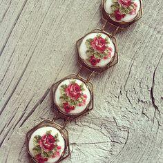 Vintage Floral Needlepoint Bracelet by RedFernVintage on Etsy, $30.00