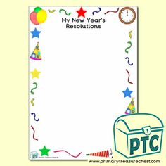 New Year Teaching Resources - Primary Treasure Chest Teaching Activities, Teaching Resources, Teaching Ideas, Ourselves Topic, Crafts For Kids, Arts And Crafts, Page Borders, Colourful Balloons, New Year Celebration