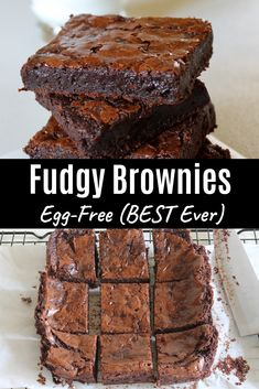 These easy to make homemade eggless chocolate brownies are ooye gooye chewy fudgey. In short the best brownies ever made from scratch you will never need box mix again. Egg Free Desserts, Eggless Desserts, Eggless Recipes, Eggless Baking, Egg Free Recipes, Easy Desserts, Baking Recipes, Desserts With No Eggs, Homemade Desserts