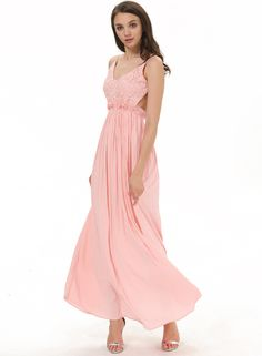 Pink Spaghetti Strap Embroidered Pleated Maxi Dress 24.99