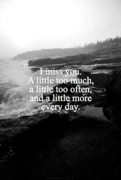 If you only knew how much I missed you & how hard it is not to not pick up the phone & call you just to hear your voice. There will always be a piece of my heart missing.