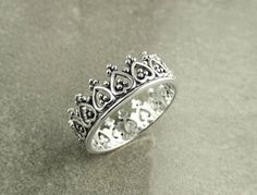 Sterling Crown Ring  Sterling Silver 925 Crown Band by KRAMIKE
