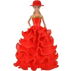 E-TING Fashion Red Lace Cake Dress Princess Gown Party Clothes and Hat For Barbie Doll …