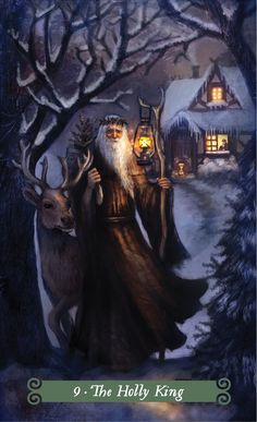 The Holly King (the Hermit) - Green Witch Tarot Pagan Yule, Wiccan, The Hermit Tarot, Holly King, Tarot Card Decks, Witch Art, Oracle Cards, Illustration, Fantasy Art