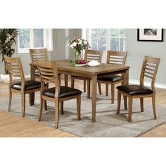 Furniture of America Dwight II Collection Dining Room Set with Rectangular Table and 6 Side Chairs in Natural Tone Oak Dining Sets, 7 Piece Dining Set, Solid Wood Dining Table, Dining Table In Kitchen, Dining Room Sets, Round Dining Table, Dining Chair Set, A Table, Dining Decor
