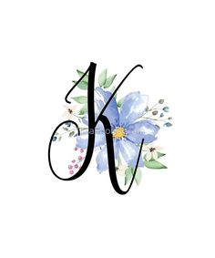 Monogram K Beautiful Watercolor Blue Flower by floralmonogram k monogram 'Monogram K Beautiful Watercolor Blue Flower' by floralmonogram Blue Flower Wallpaper, Metallic Wallpaper, Alphabet Wallpaper, Name Wallpaper, Floral Letters, Monogram Letters, Saree Painting, Stylish Alphabets, K Tattoo