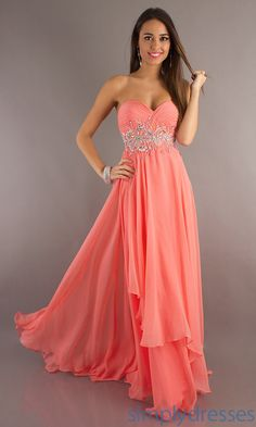 Long Strapless Prom Dress by Alyce Paris Morganite