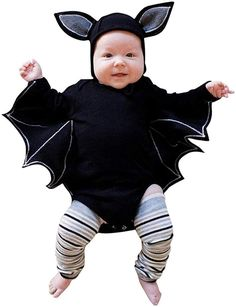 080ef4062b40 Baby Girl Boy Halloween Clothes Black Bat Costume Cloak Romper with Hat  Outfit