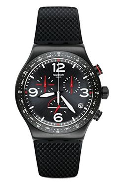 The YVB403 #Swatch Black is Back from the Originals has a colour coated stainless steel case 43mm in diameter and is fitted with a rubber strap. Inside the case ...