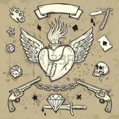 Set of Old School Tattoo Elements photo