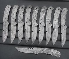 Lot of 10 Handmade Damascus Steel Knife Making Hunting Blank Blade.(SPB-575)