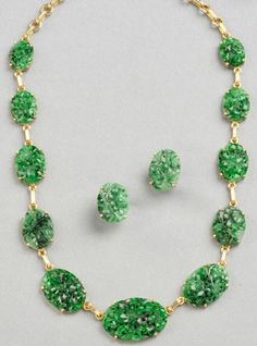 Suite; Tiffany, Earrings & Necklace, 14K Gold Chain Links, Carved & Pierced Jade Tablets. C. 1960