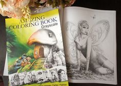 Amazing Coloring Book. Grayscale  available on on Amazon  This book includes 32 unique different hand drawn illustrations :  Fantasy, Mushrooms, Pin Up,Funny Animals,Fairies,Fashion illustrations. Page size is 8.5x11inches.