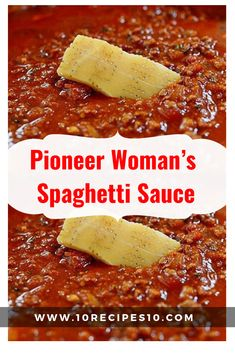 This recipe can easily be halved, but make the full batch and you can easily freeze half for another time. Full of beef and complex tomato flavors, this spaghetti . Pioneer Woman Spaghetti Sauce, Spaghetti Sauce Easy, Spaghetti Recipes, Italian Spaghetti Sauce, Spaghetti Sauce Recipe Crushed Tomatoes, Pioneer Woman Meat Sauce Recipe, Spaghetti Sauce Ground Beef, Homemade Spagetti Sauce, Soups