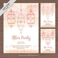 #Watercolor #Ramadan #Flyers that I have designed for #Freepik. #Lanterns #Handdrawn #WatercolourDesign #GraphicDesign