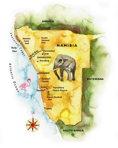 Watercolor map of Namibia by Steven Stankiewicz