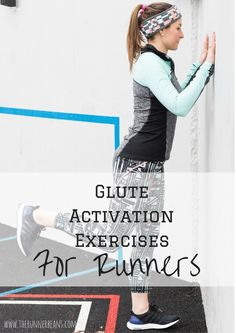 Glute activation exercises for runners to help avoid knee injury when running or marathon training. Lower Ab Workouts, Running Workouts, Running Tips, Fun Workouts, Core Workouts, Glute Activation Exercises, Glute Exercises, Strength Training For Runners, Strength Workout