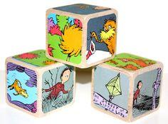 Dr. Seuss The Lorax - Children's Wooden Baby Blocks - Birthday Party - 2 Inch Hard Wood Blocks