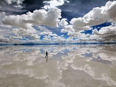 Salar de Uyuni Salt Flat, Bolivia - Turns into the worlds largest mirror when flooded. Looks like Heaven....ahhh love the clouds must go there