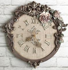 Clock Art, Diy Clock, Clock Decor, Floral Texture, Texture Art, Decopage, Storage Mirror, Decoupage Art, Wood Clocks