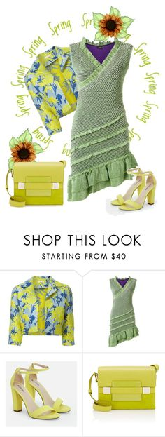 """""""Green Dress"""" by carlina-tof ❤ liked on Polyvore featuring P.A.R.O.S.H., Gig, JustFab and Delvaux"""