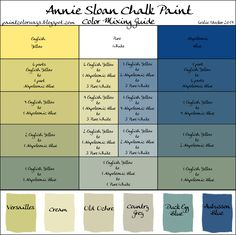 COLORWAYS Annie Sloan Chalk Paint mixing recipe chart for custom color : Green onder pure white komt het nabij lavendelkleur