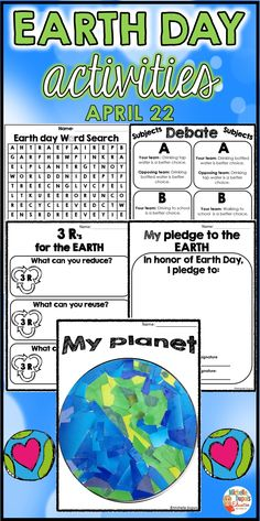 Earth Day Activities for your students! This packet includes a craft project, worksheets, debate subjects, word search a Earth Day Pictures, Earth Day Images, Earth Day Quotes, Earth Day Posters, Earth Day Projects, Earth Day Crafts, Earth Day Activities, Activities For Kids, Primary Classroom