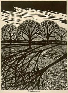 'Winter II', linocut (artwork by Anita Laurence) Linocut Prints, Art Prints, Block Prints, Gravure Photo, Linoprint, Wood Engraving, Woodblock Print, Tree Art, Printmaking