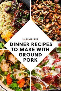 Pork Recipes 18 Delicious Dinners You Can Make with a Pound of Ground Pork … Ground Pork Sausage Recipes, Ground Pork Recipes Easy, Healthy Pork Recipes, Pork Recipes For Dinner, Delicious Dinner Recipes, Meat Recipes, Cooking Recipes, Cooking Food, Recipe Ground Pork