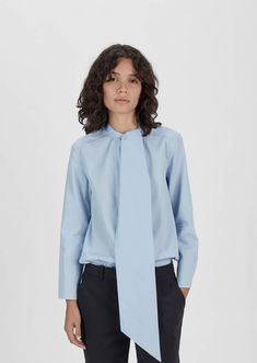 Acne Studios Bianca Cotton Poplin Blouse Sky Blue Size: EUR 34