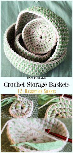 Crochet Basket of Sheets Free Pattern - Storage #Basket; Free #Crochet; Patterns