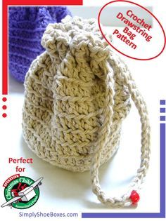 Simply Shoe Boxes: Simple Crocheted Stand-up, Drawstring Bag Instructions