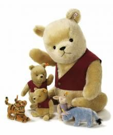 Steiff - assortment of Winnie the Pooh and Friends.