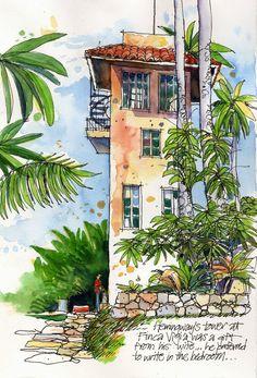 Urban Sketchers: Cuban Palms by James Richards