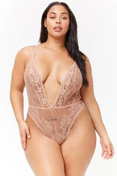 Product Name:Plus Size Sheer Lace Teddy, Category:plus_size-main, Price:19.9