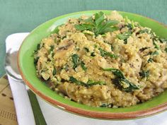 quinoa risotto with mushrooms, spinach, and goat cheese